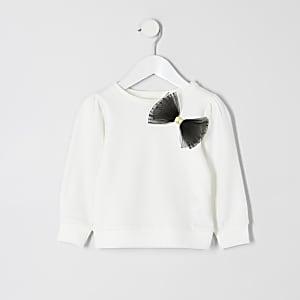 Cremefarbener Pullover mit Schleife und Mesh-Einsatz für kleine Mädchen