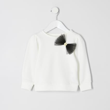 Mini girls cream bow mesh jumper