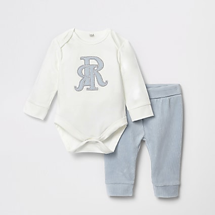 Baby blue velour RI baby grow outfit