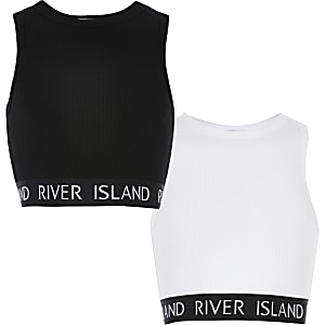 Set van 2 witte en zwarte crop tops met RI-band voor meisjes