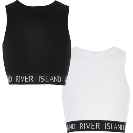 Girls white and black RI crop top 2 pack