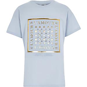 Blauw T-shirt met folieprint in reliëf voor meisjes