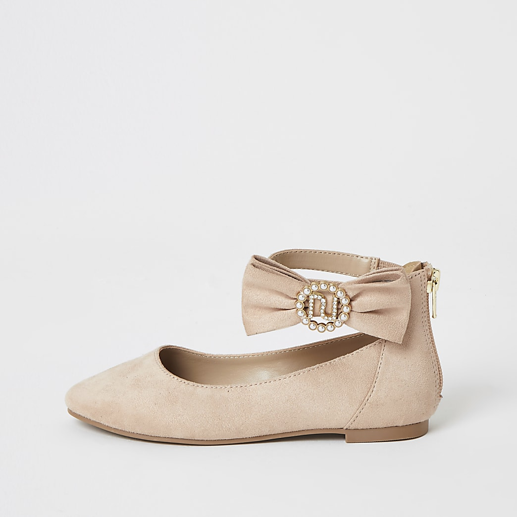 Girls pink RI embellished bow ballerina pumps