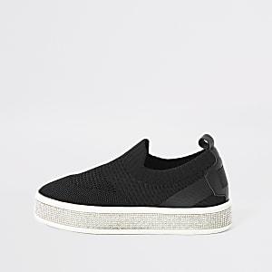 Schwarze Strick-Sneaker mit Strass für Mädchen