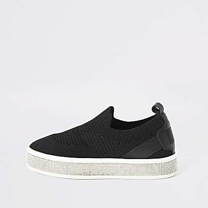 Girls black knitted diamante trainers