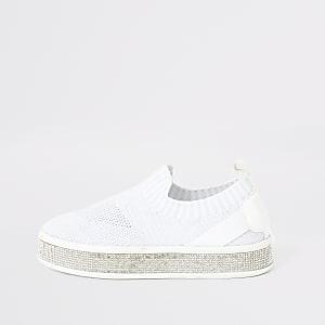 Witte gebreide sneakers met siersteentjes voor meisjes