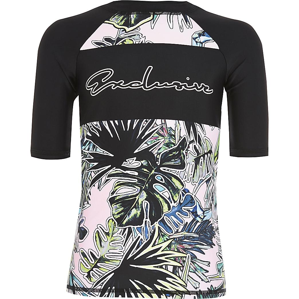 Boys pink 'Exclusive' printed rash swim top