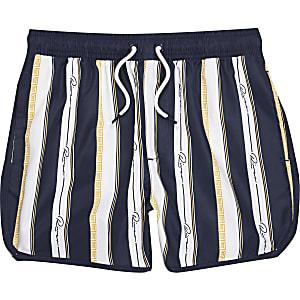 Shorts de bain bleu marineà rayures « River » pour garçon