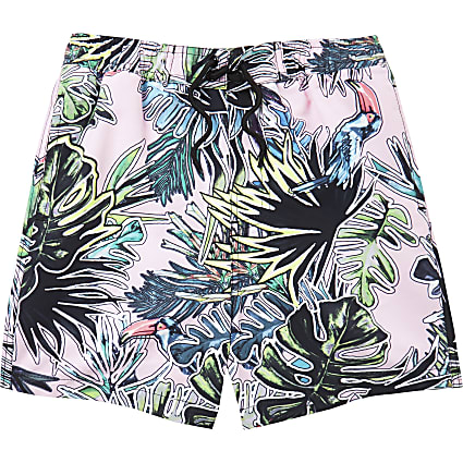 Boys pink leaf print swim shorts