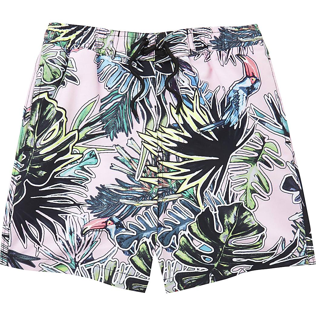 Boys pink leaf print swim shorts