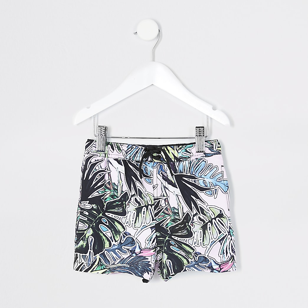 Mini boys pink leaf printed swim shorts