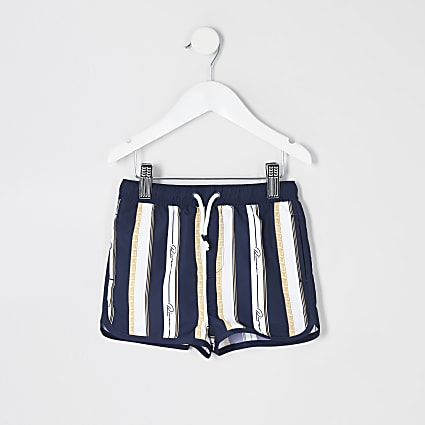 Mini boys navy printed swim shorts