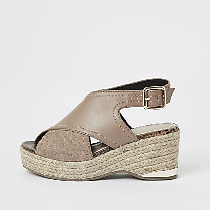 Girls brown crossover wedge sandals