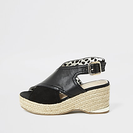 Girls black cross over straps wedge sandals