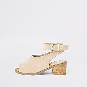 Sandales en suédinerose à talon pour fille