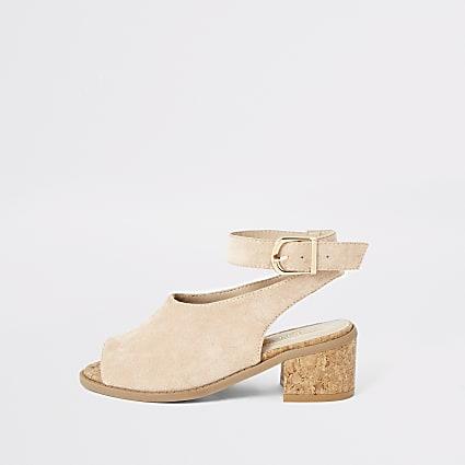 Girls pink suedette heeled sandals