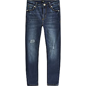 Boys blue Ollie spray on skinny ripped jeans