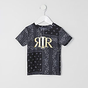 Mini boys black bandana print RI T-shirt