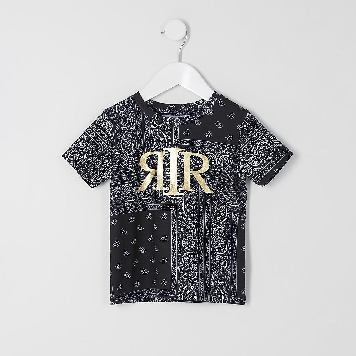 Mini boys black bandana print RI T-shirt