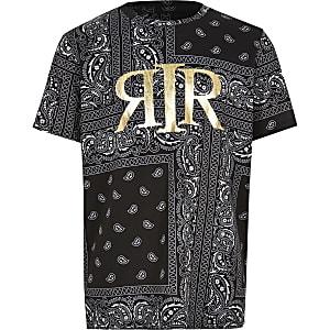 Zwart T-shirt met bandana folieprint voor jongens