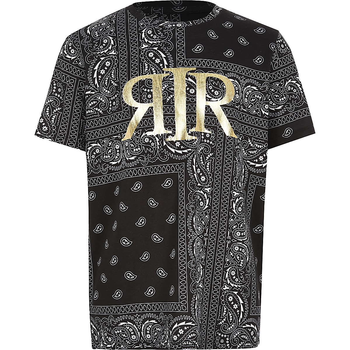 Boys black bandana foil printed T-shirt