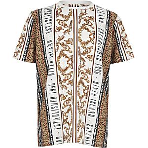 T-shirt grège baroque à manches courtes pour garçon