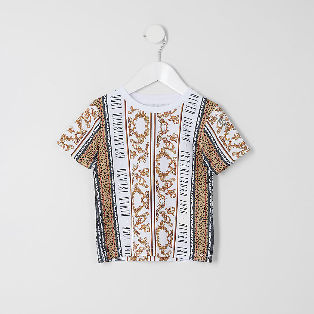 Mini boys white baroque print T-shirt