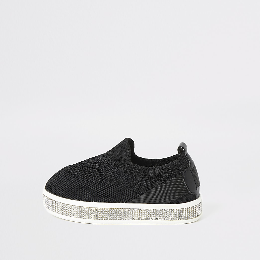 Mini girls black knitted diamante trainers