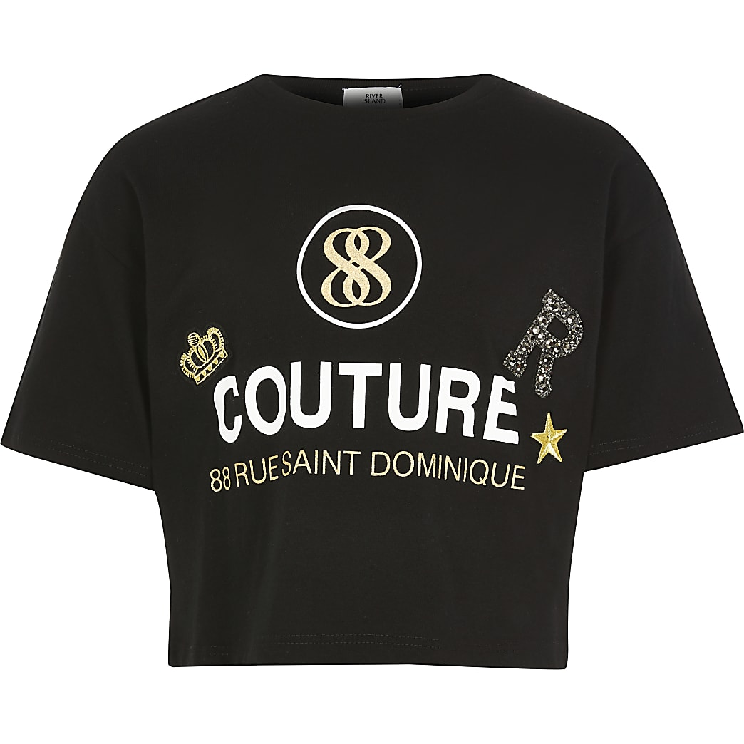 Girls black 'Couture' cropped T-shirt