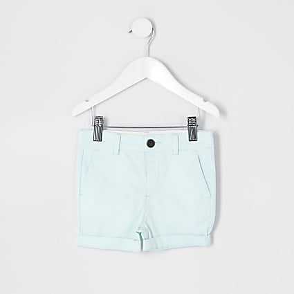 Mini boys light green chino shorts