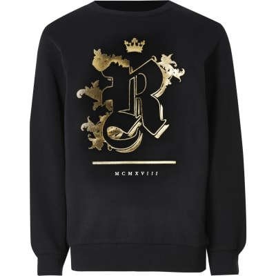 Boys Black R Embossed Sweatshirt by River Island