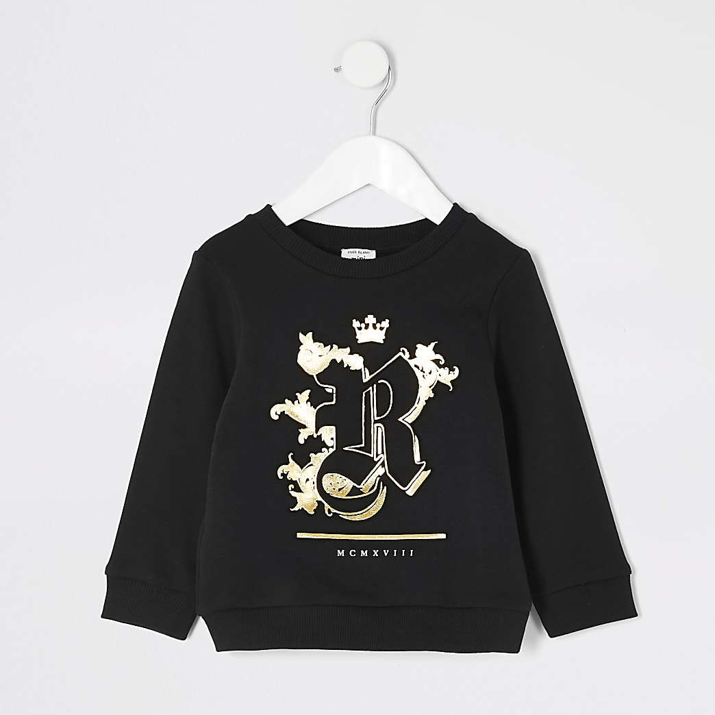 Mini boys black R embossed sweatshirt