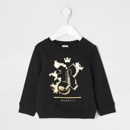 Mini boys black R embossed sweatshirt