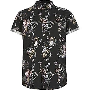 Chemise à fleurs noire à manches courtes pour garçon