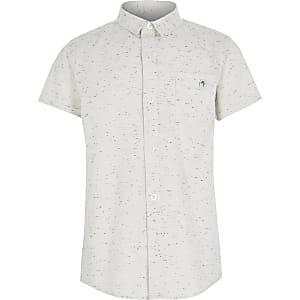 Maison Riviera - Ecru neppy overhemd voor jongens