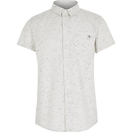 Boys ecru neppy Maison Riviera shirt