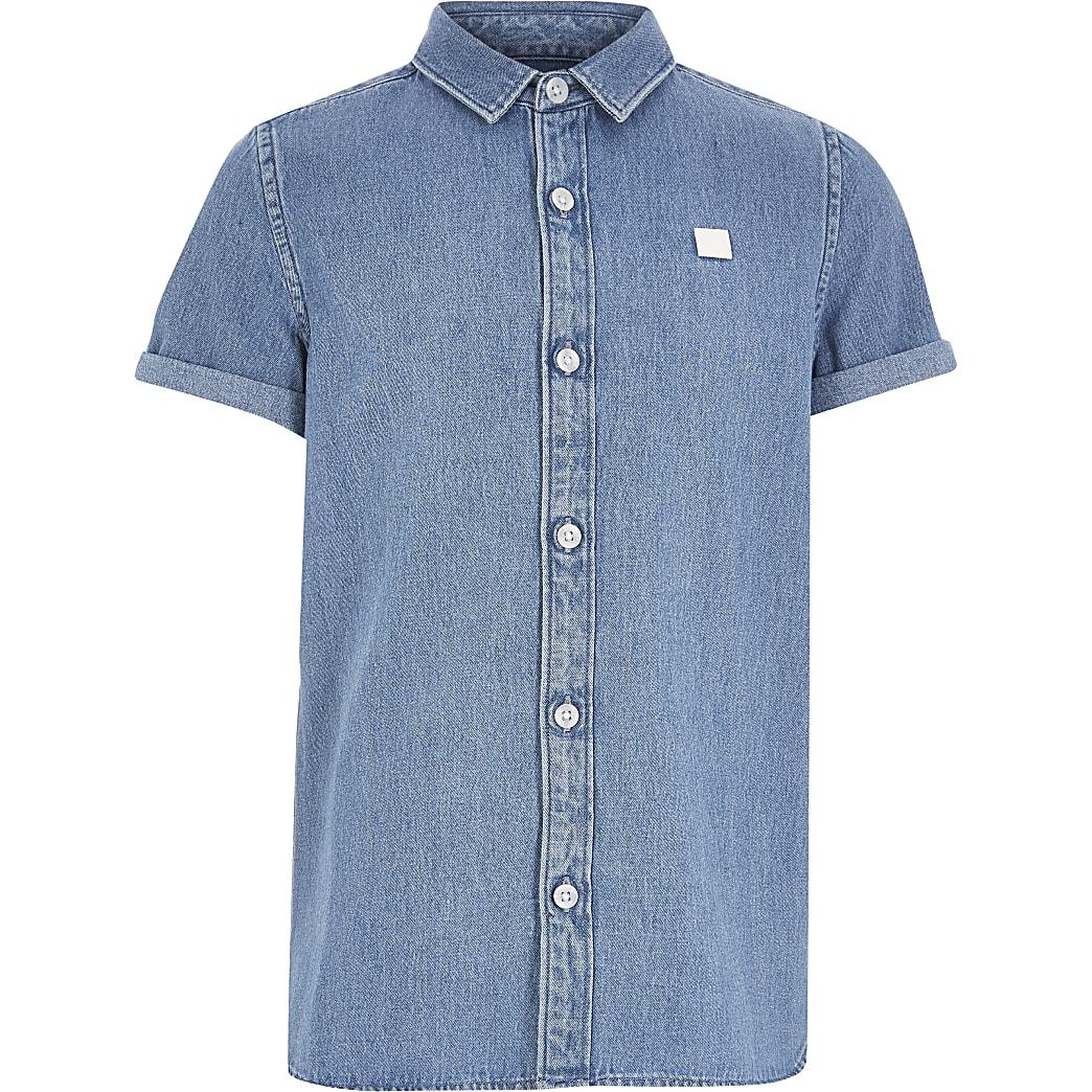 Boys blue Maison Riviera denim shirt