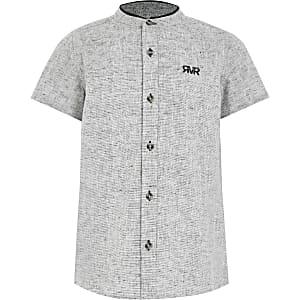 Strukturiertes Hemd mit Grandad-Kragen in Grau für Jungen