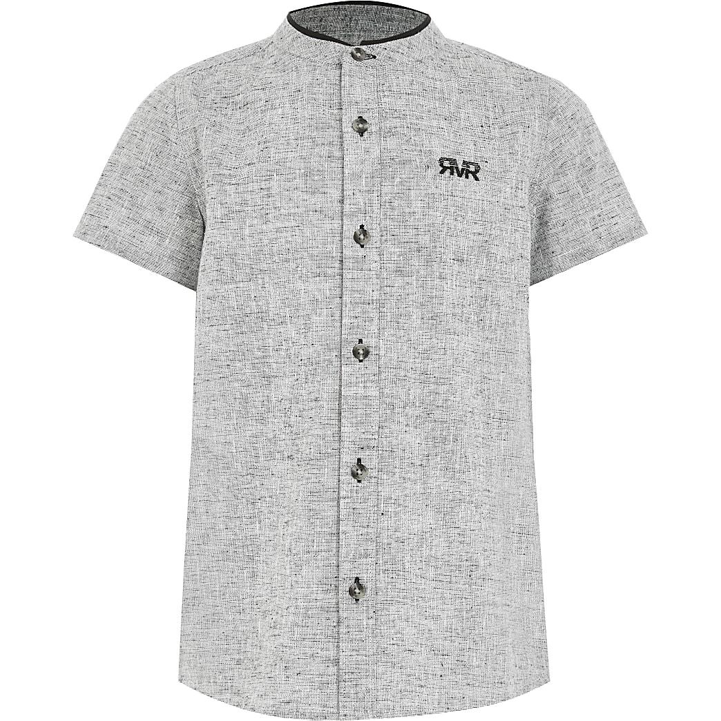 Boys grey textured grandad collar shirt
