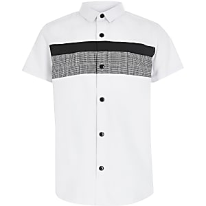 Chemise en popeline blanche à carreaux colour blockpour garçon