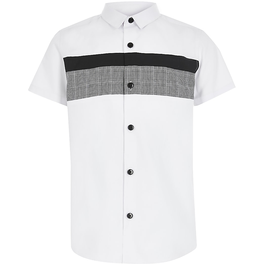 Boys white check blocked poplin shirt