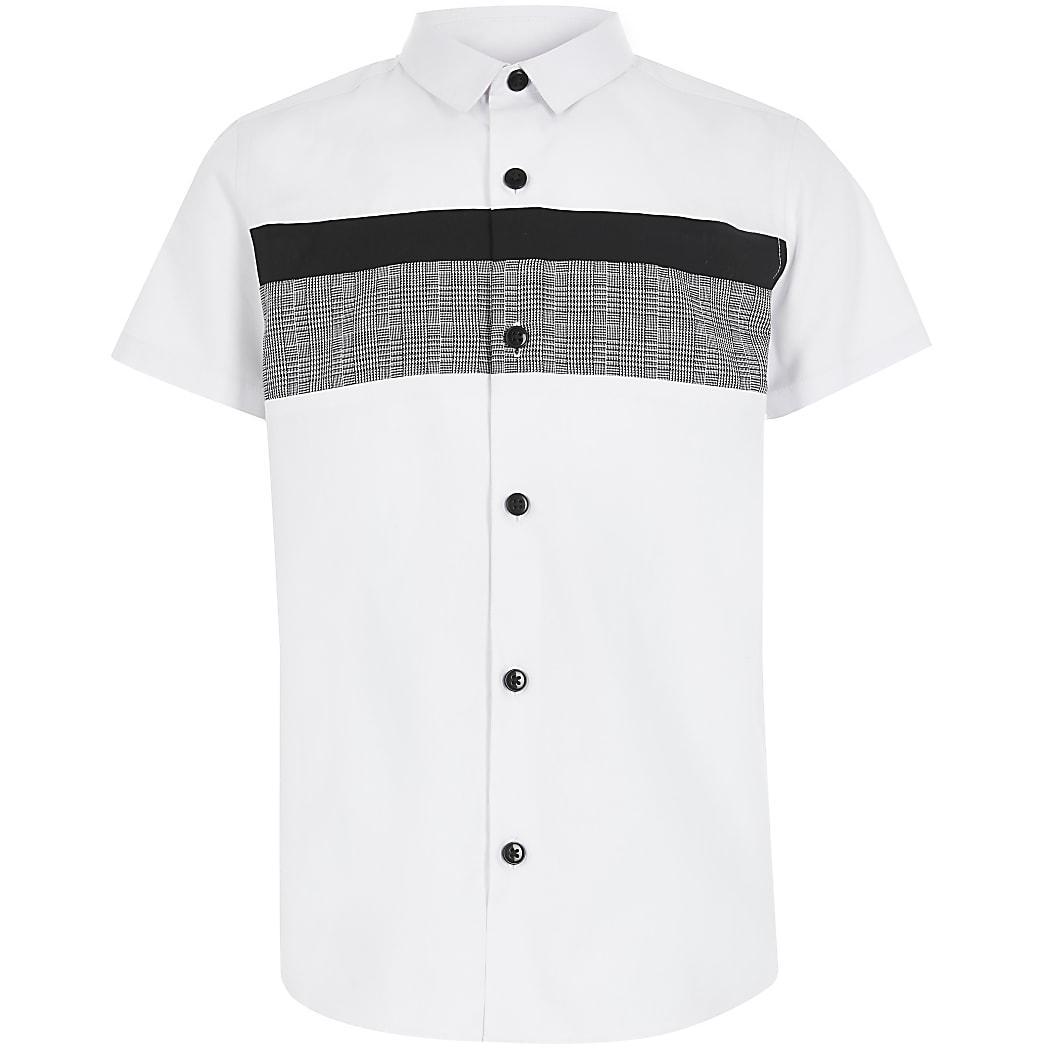 Wit geruit poplin overhemd met kleurvlakken voor jongens