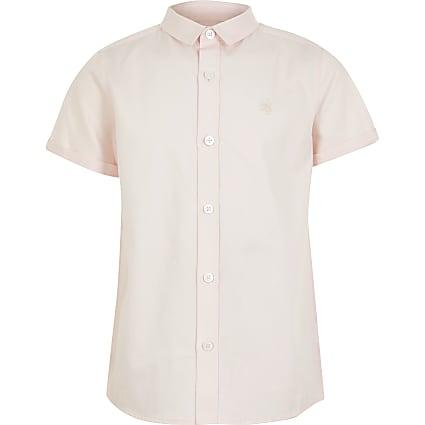 Boys pink short sleeve twill shirt