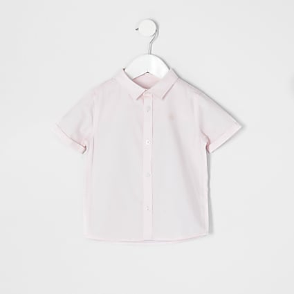 Mini boys pink short sleeve twill shirt