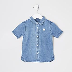 Mini - Blauw denim overhemd met Mini Rebel print voor jongens