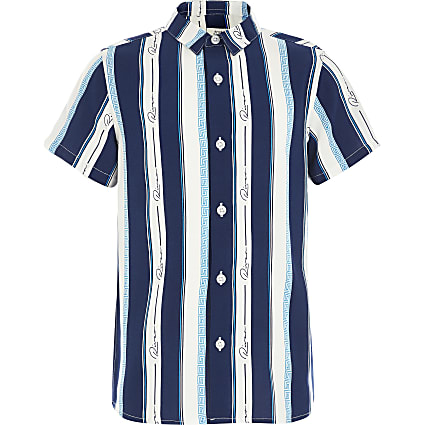 Boys blue 'River' stripe short sleeve shirt