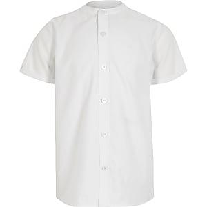 Twillhemd mit Grandad-Kragen für Jungen in Weiß