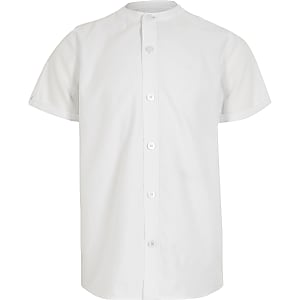 Chemise en sergé blanche à col grand-père pour garçon