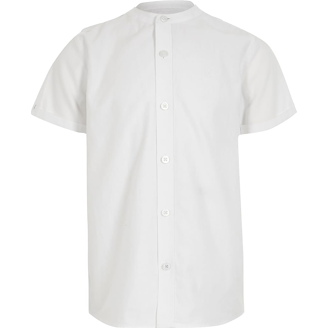 Boys white grandad collar twill shirt