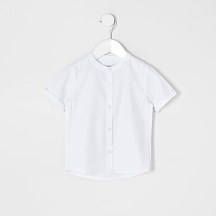 Mini boys white grandad collar twill shirt